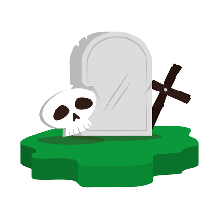 halloween gravestone with skull and cross vector illustration design