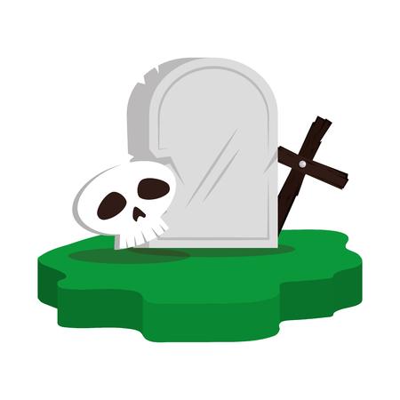 halloween gravestone with skull and cross vector illustration design