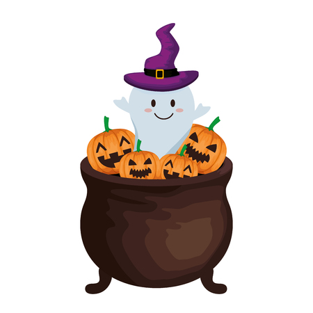 happy halloween cauldron with ghost vector illustration design