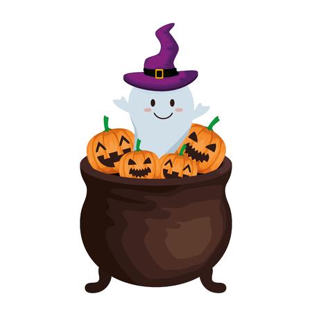 glücklicher Halloween-Kessel mit Geistervektorillustrationsentwurf