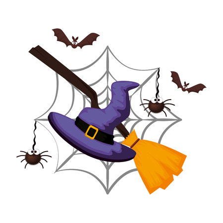witch hat with broom halloween card vector illustration design