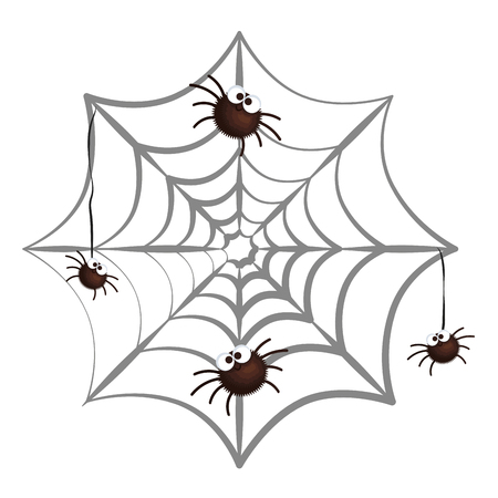 happy halloween spiders in spiderweb vector illustration design