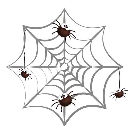 happy halloween spiders in spiderweb vector illustration design