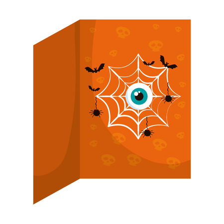 happy halloween bats with spiderweb and eye vector illustration design Иллюстрация