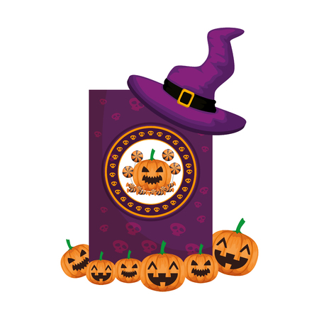 witch hat with pumpkins halloween card vector illustration design
