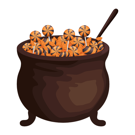 happy halloween cauldron with candies vector illustration design