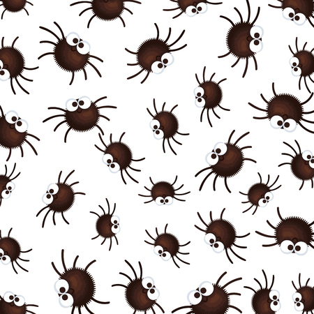 happy halloween spiders pattern background vector illustration design