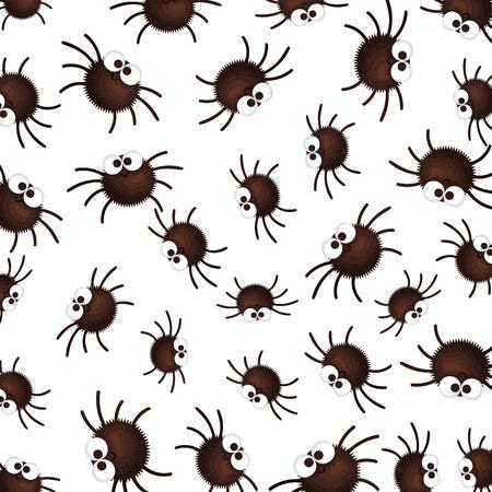 happy halloween spiders pattern background vector illustration design