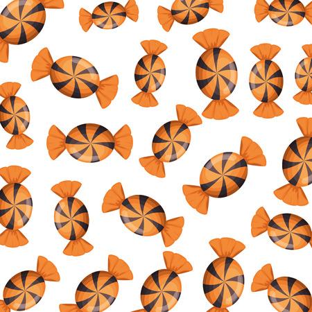 halloween sweet candy pattern background vector illustration design
