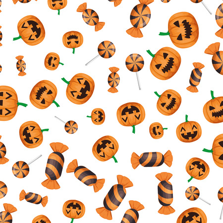halloween sweet candies and pumpkin pattern vector illustration design