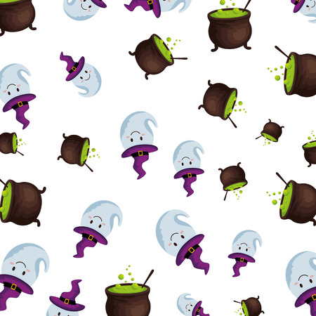 happy halloween cauldrons and ghosts pattern vector illustration design Foto de archivo - 108863757