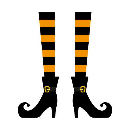 halloween, sorcière, jambes, icône, vecteur, illustration, conception