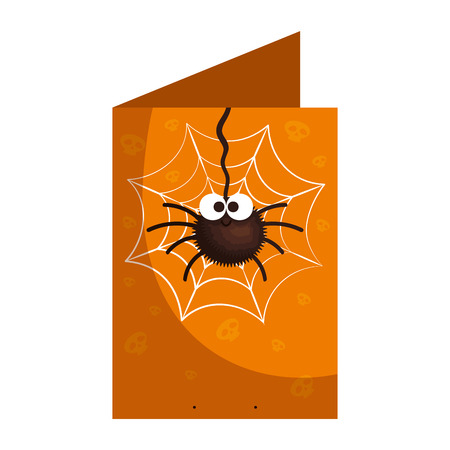 happy halloween card with spider vector illustration design