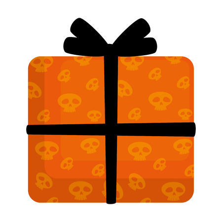 happy halloween giftbox with skulls vector illustration design