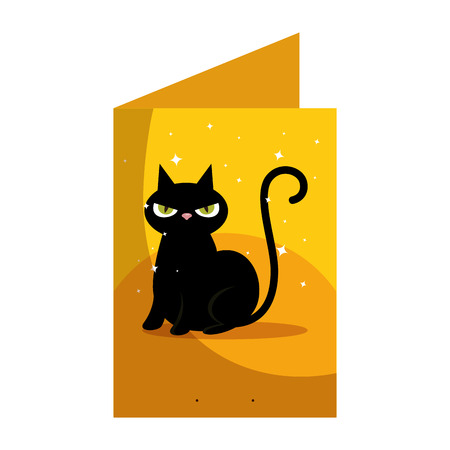 halloween card with black cat character vector illustration design Foto de archivo - 109686828