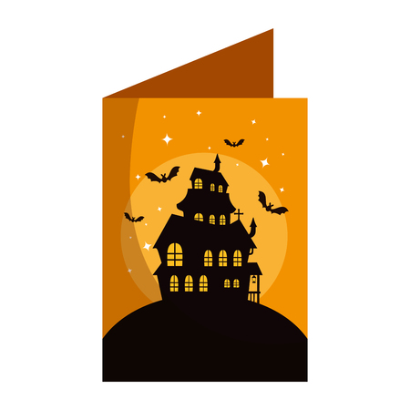 happy halloween card with castle enchanted vector illustration design