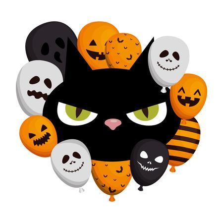 halloween head black cat with balloons helium vector illustration design Ilustrace