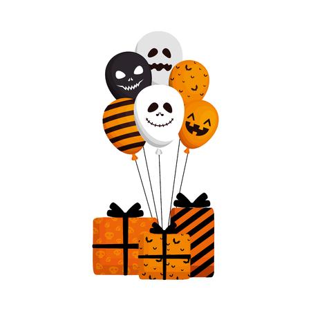 happy halloween giftbox present vector illustration design