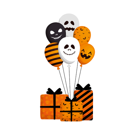 happy halloween giftbox present vector illustration design