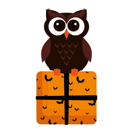 happy halloween giftbox with owl vector illustration design Vectores