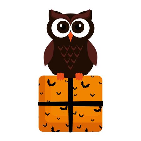 happy halloween giftbox with owl vector illustration design 矢量图像