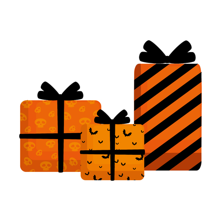 happy halloween giftboxes presents vector illustration design
