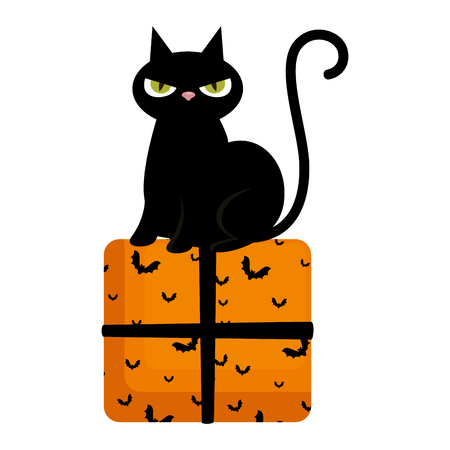 halloween black cat with gift character vector illustration design Foto de archivo - 109686834