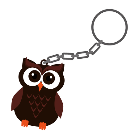 happy halloween key chain with owl vector illustration design Archivio Fotografico - 109686837