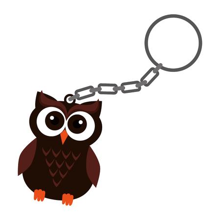 happy halloween key chain with owl vector illustration design Illustration