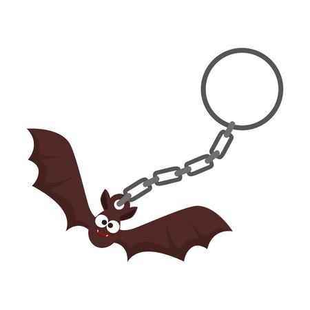 halloween key chain with bat flying vector illustration design Illusztráció