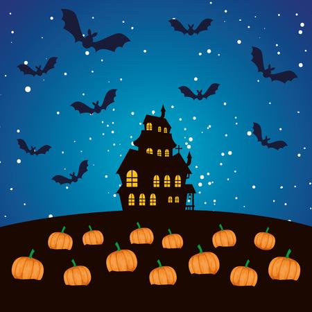 halloween enchanted castle on the night vector illustration design