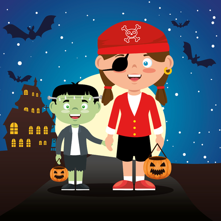 children dressed up in halloween night vector illustration design Ilustrace