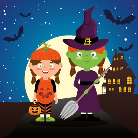 children dressed up in halloween night vector illustration design Illustration