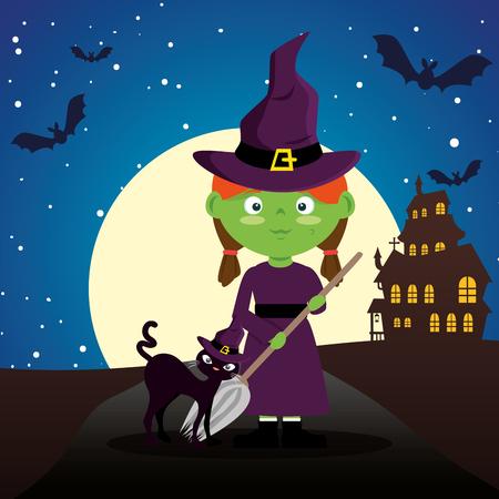 children dressed up in halloween night vector illustration design Illustration