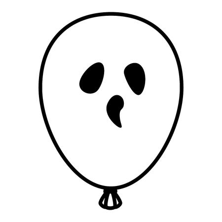 halloween balloon helium with face vector illustration design
