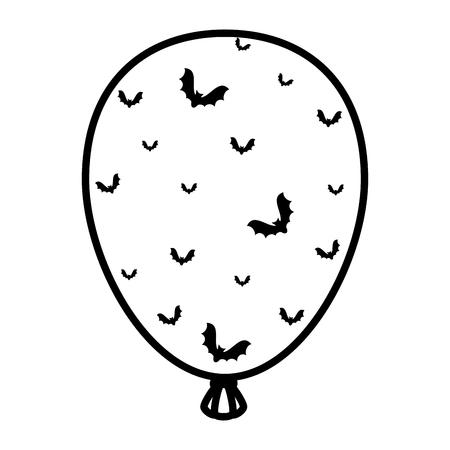 halloween balloon helium with bats flying vector illustration design Illustration