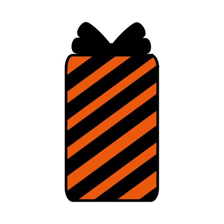 happy halloween giftbox with stripes vector illustration design