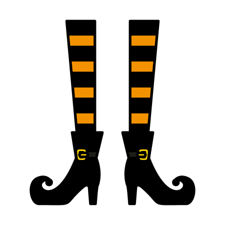 halloween, sorcière, jambes, icône, vecteur, illustration, conception Vecteurs