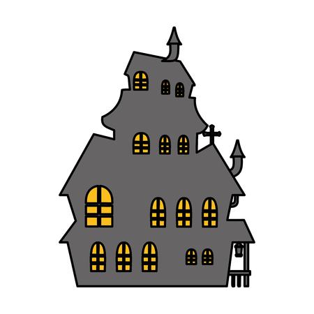 halloween enchanted castle scene vector illustration design