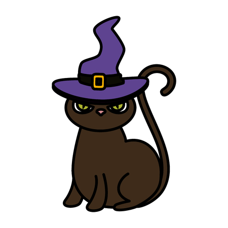 halloween black cat with witch hat vector illustration design