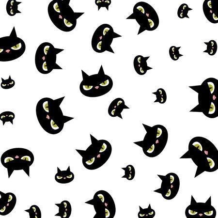 halloween black cats characters pattern vector illustration design Ilustrace