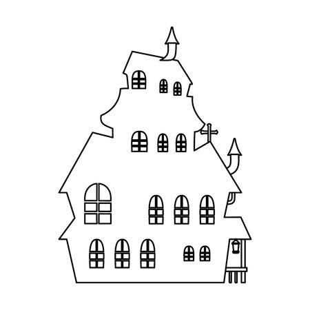 Halloween castello incantato scena illustrazione vettoriale design