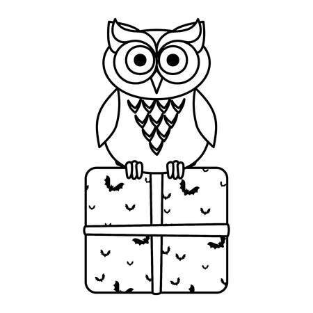 happy halloween giftbox with owl vector illustration design Çizim