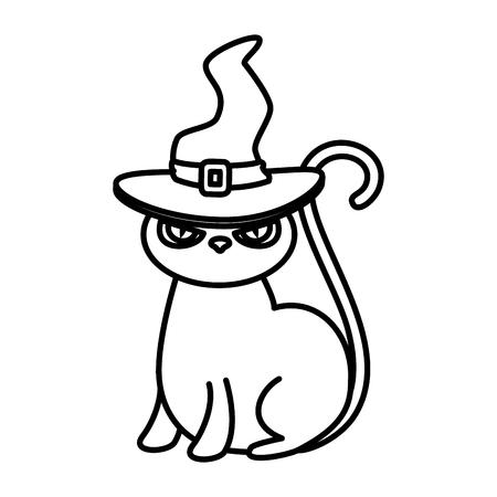 halloween black cat with witch hat vector illustration design Archivio Fotografico - 108865386