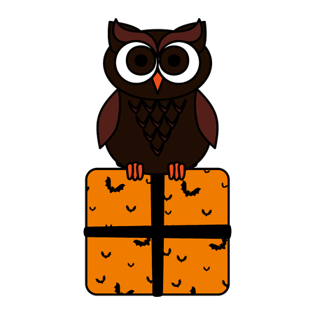 happy halloween giftbox with owl vector illustration design Illustration