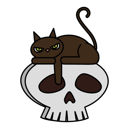 halloween black cat with skull character vector illustration design