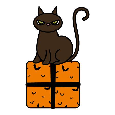 halloween black cat with gift vector illustration design