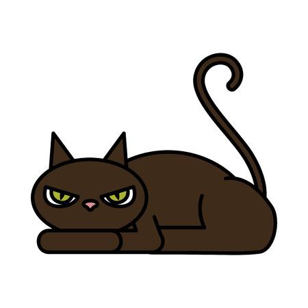 halloween black cat character vector illustration design Ilustrace