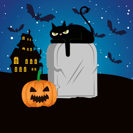 halloween black cat with pumpkin and gravestone vector illustration