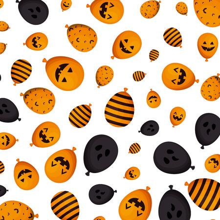 halloween balloons helium styles pattern vector illustration design